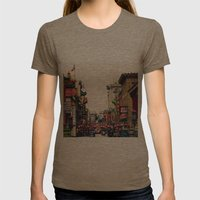 San Francisco China Town Womens Fitted Tee Tri-Coffee SMALL