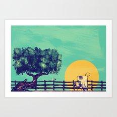 Cow Sunset Art Print