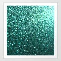 Teal Aqua Glitter Sparkle Art Print
