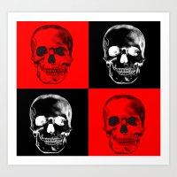 Red/Black SKULL Art Print