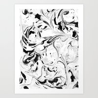 Black And White Marble Art Print