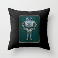 Throw Pillow featuring R2 3PO by Eyejacker
