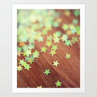 Falling Yellow Stars Art Print
