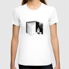 Reading is Dreaming with Your Eyes Open Womens Fitted Tee White SMALL