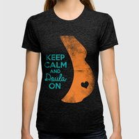 KEEP CALM And DOULA ON Womens Fitted Tee Tri-Black SMALL