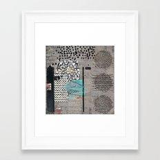 Grey Teal Abstract Art  Framed Art Print