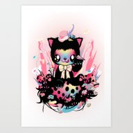 Art Print featuring Lucky Kitty by Meni Tzima