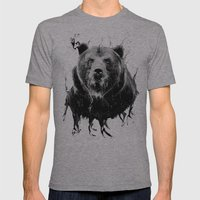 DARK BEAR Mens Fitted Tee Athletic Grey SMALL