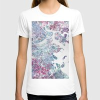 boston T-shirts featuring Boston map by MapMapMaps.Watercolors