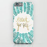 turquoise iPhone & iPod Cases featuring Treat Yo Self – Gold & Turquoise by Cat Coquillette