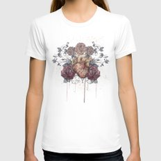 Flowers from my heart Womens Fitted Tee White SMALL