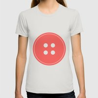 #63 Button Womens Fitted Tee Silver SMALL