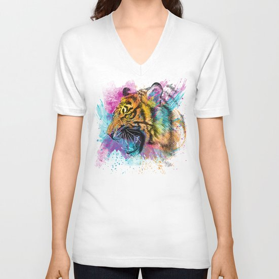 Angry Tiger V-neck T-shirt