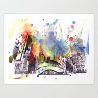 Chicago Bean Cityscape W… Art Print