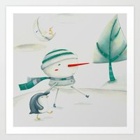 Snowman And Friend Art Print