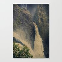 Barron Falls in retro style Canvas Print