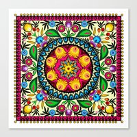 Folk Flowers Collage Canvas Print