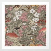 Fishes & Flowers - Seamless pattern Art Print