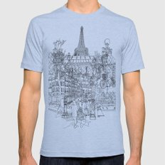 Paris! B&W Mens Fitted Tee Athletic Blue SMALL