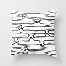 PEEPING TOM [BLK & WHT] Throw Pillow