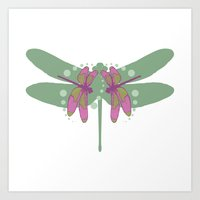 Pattern With Dragonflies… Art Print