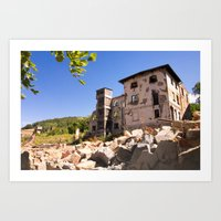 Old German Silesian linen mill  Art Print