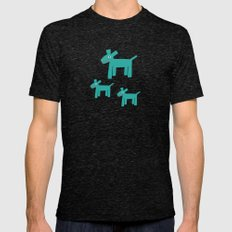 Dogs-Teal Mens Fitted Tee Tri-Black SMALL