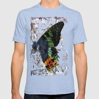 Sunset Moth Wing Abstract Mens Fitted Tee Tri-Blue SMALL