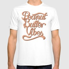 Peanut Butter Vibes SMALL Mens Fitted Tee White