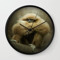 Study of a Gibbon - The Thinker Wall Clock