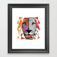 Framed Art Print featuring LION by Mark Ashkenazi