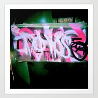 Taggers noise behind their toys Art Print