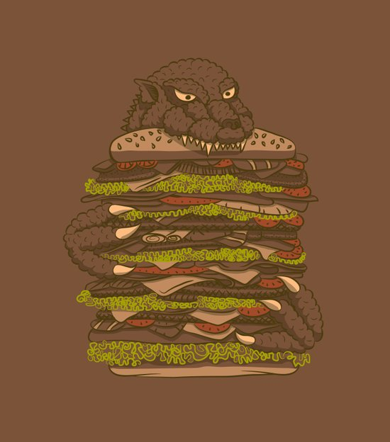 Godzilla vs Hamburger Art Print