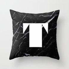 Black Marble - Alphabet T Throw Pillow