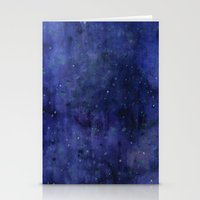Galaxy Watercolor Texture Night Sky Stars Stationery Cards