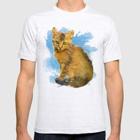 Watercolor and splatter Cat Mens Fitted Tee Ash Grey SMALL