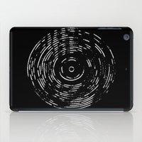 Record White on Black iPad Case