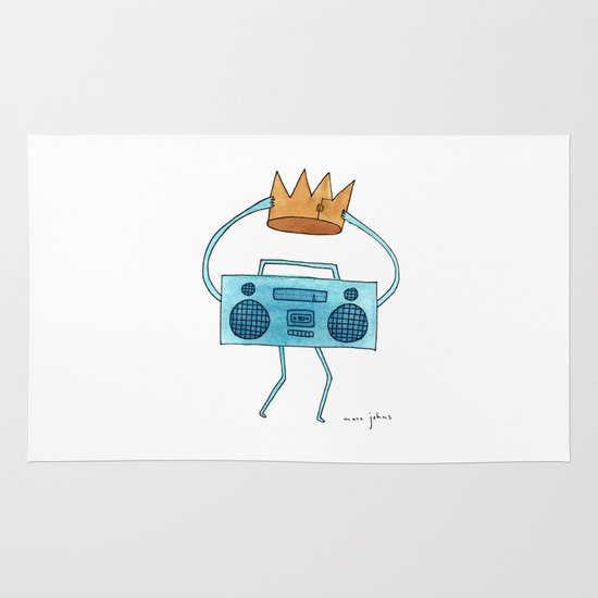 boombox holding a paper crown Area & Throw Rug