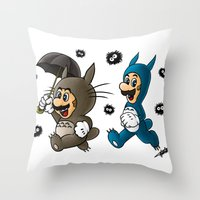 Super Totoro Bros. Throw Pillow