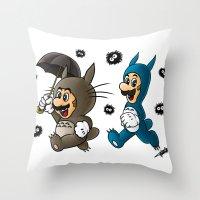 Super Totoro Bros. Throw Pillow