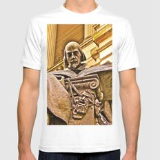 Shakespeare Hits the Books White SMALL Mens Fitted Tee