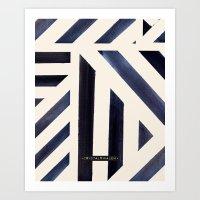 Watercolor Stripe Midnight Art Print