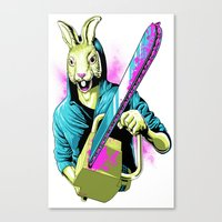 Rabbit With A Chainsaw Canvas Print