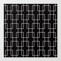 White outline rectangles on black Canvas Print