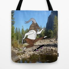 Baphomet's sixth failed attempt over a creek in Yosemite, which resulted in him focusing his board. Tote Bag