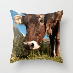 cute cow close Throw Pillow