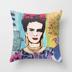 Psychedelic Frida Throw Pillow
