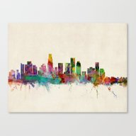 Canvas Print featuring Los Angeles City Skyline by ArtPause