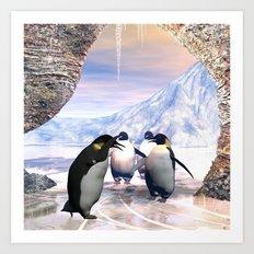 Funny penguin  Art Print