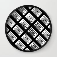 Black And White Tapes 45 Wall Clock